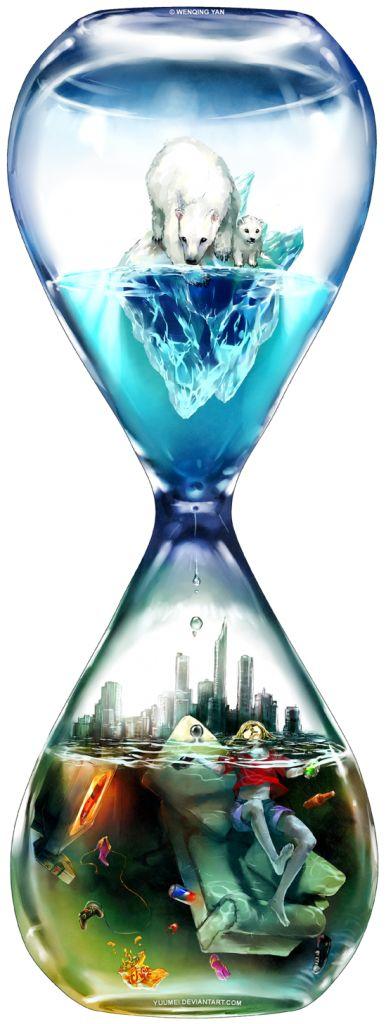 في هذا المثال تم استغلال الساعة الرملية في توضيح التغييرات المناخية للقطبين و أثرها على العالم بفعل الإحتباس الحراري .