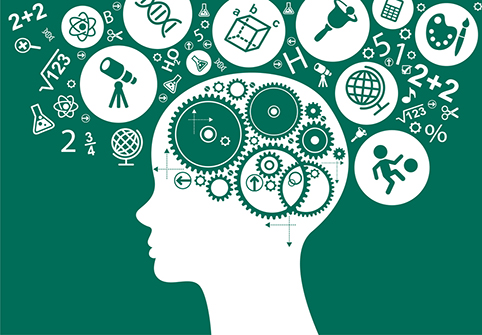 The concept of modern education. Template with silhouette of th